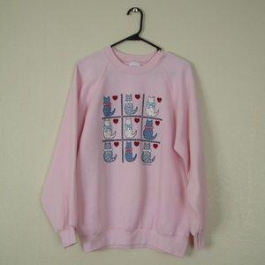 Vintage Cats and Hearts Crewneck Sweatshirt